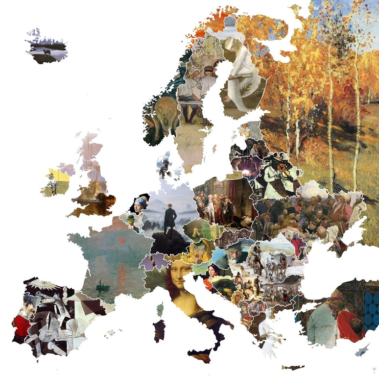 Fonte: https://www.reddit.com/r/MapPorn/comments/652cjw/famous_artwork_in_europe_oc_20001982/